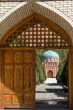 A look inside the Rudaki Mausoleum en route to the Kulaikalon Lakes in Tajikistan's Fann Mountains region.