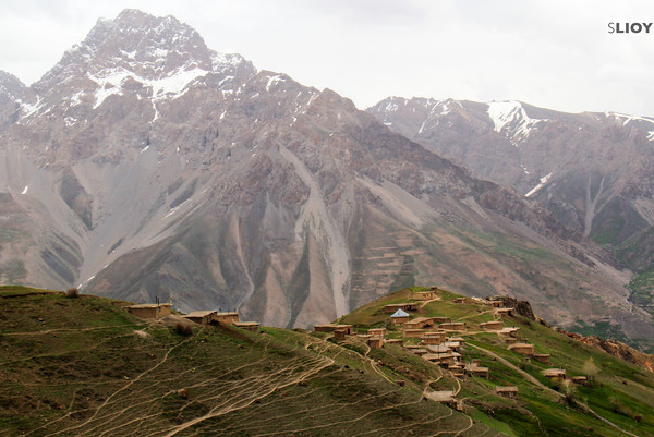 village near seven lakes hike in Tajikistan's Fann mountains