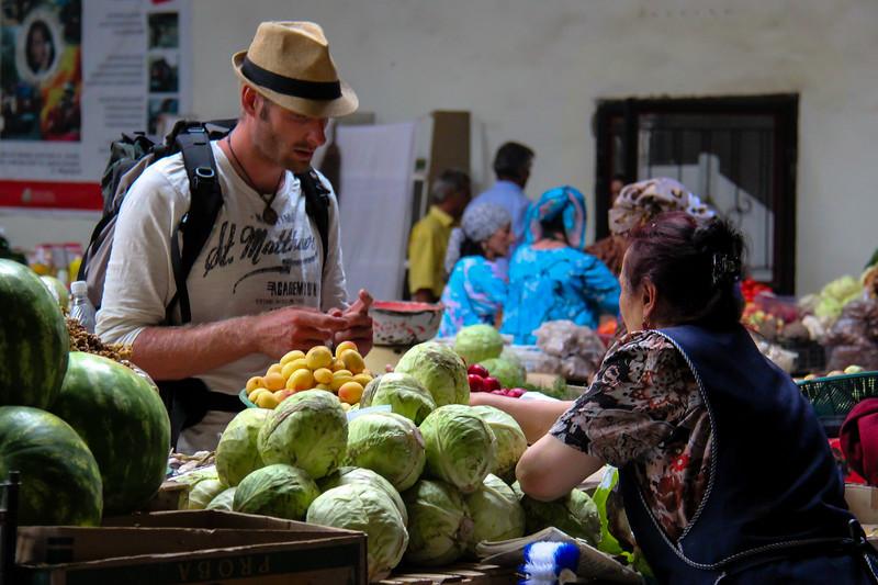 Haggling at the market in Khorog, Tajikistan.