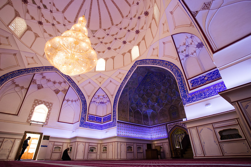 Worshippers inside the Bolo-Hauz Mosque in Bukhara, Uzbekistan.