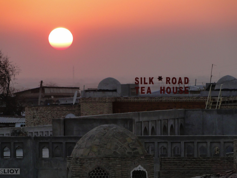 Silk Road tea house at sunset