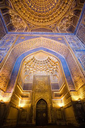 Interior details of the Gur-i-Amir Mausoleum of Amir Timur in Samarkand, Uzbekistan.