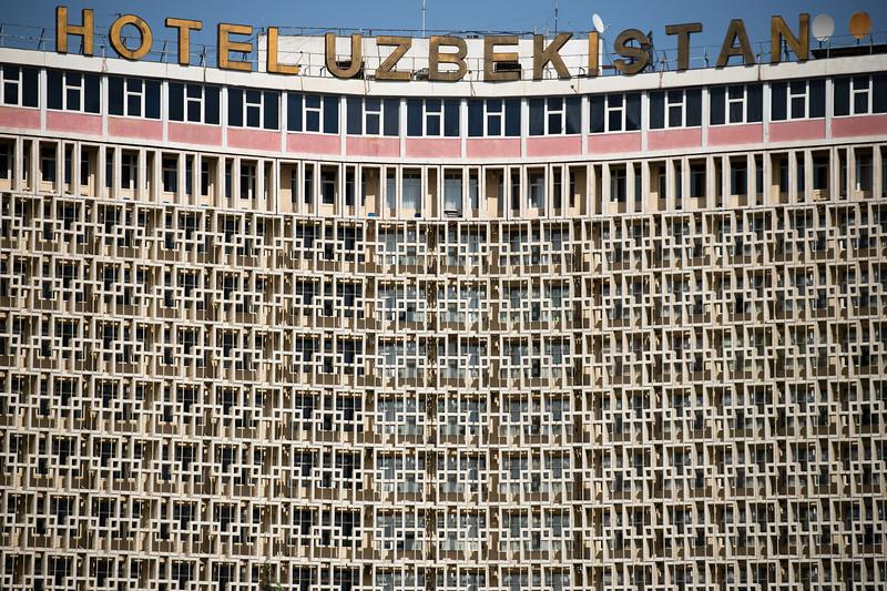 Soviet Modern exterior of the 1974 Hotel Uzbekistan in Tashkent, Uzbekistan.