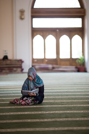 A local believer in prayer at the Juma Mosque in Tashkent, Uzbekistan.