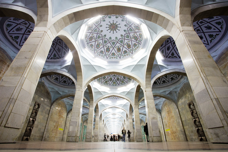 The cathedral-like interior of the Soviet-era Alisher Navoi metro station in Tashkent, Uzbekistan.