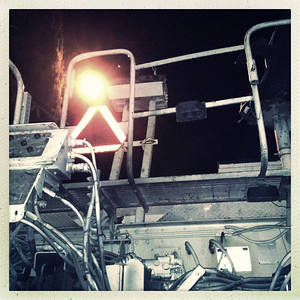 Working platform of a road construction vehicle.