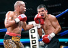 (3.10.2006 --- Desert Diamond Casino)  Emanuel Augustus scores on Arturo Morua in the 7th round of their WBO Intercontinental Championship bout.