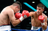 (3.10.2006 --- Desert Diamond Casino)  Rudy Gamez scores to the head of Jose Valdez in the 2nd round of their Light Welterweight bout.