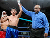 (3.10.2006 --- Desert Diamond Casino)  Referee Ray Scott declares Ramiro Rivera the winner after his 2nd round knockout of Tomas Padron in their Super-Featherweight bout.