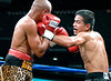 (3.10.2006 --- Desert Diamond Casino)  Arturo Morua scores on Emanuel Augustus in the 9th round of their 12 round WBO Intercontinental Championship bout.