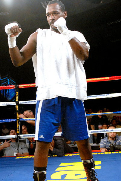 (11.3.2007 -- Tucson, Arizona)  Cruiserweight Carlos Duarte after his 4 round TKO victory over Terrence Smith.<br /> <br /> Images from the November 3, 2007 Golden Boy Productions fight card at the Desert Diamond Casino.