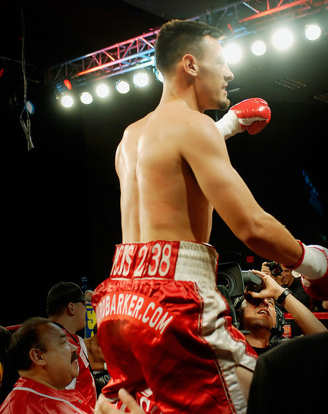 (11.3.2007 -- Tucson, Arizona)  Featherweight Robert Guerrero celebrates after knocking down Martin Honorio in the 1st round of their IBF World Championship bout.