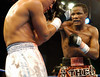 (1.27.2006 - Desert Diamond Casino, Tucson, AZ)  Kassim Ouma on the attack against Francisco Mora in the 4th round of their NABO Jr. Middleweight Championship.