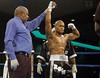 (1.27.2006 - Desert Diamond Casino, Tucson, AZ)  2004 Olympian, Rock Allen declared the winner after his 1st round knockout of Mike Walker.