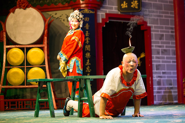 A Sichuan Opera performance mid-show in Chengdu, China.