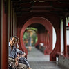 A long arched covered walkway inside the Culture Park in Chengdu, China.