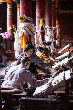 Artisans prepare hand-printed religious texts in the Tibetan town of Dege in Sichuan, China.