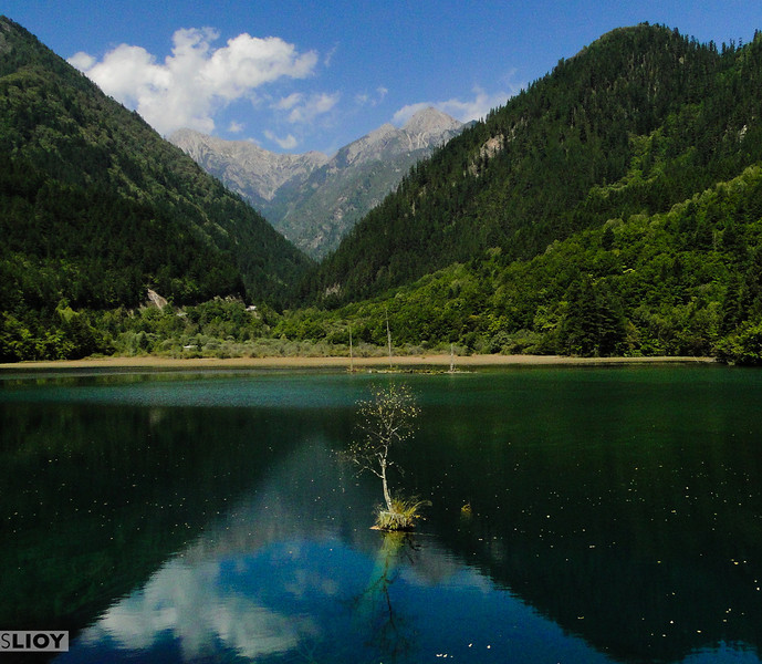 Reflections on a lake in Jiuzhaigou National Park in Sichuan, China.