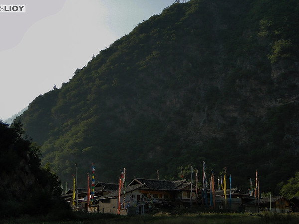 Tibetan mountain village in Jiuzhaigou National Park in Sichuan, China.