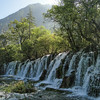 Large waterfall in China's Jiuzhaigou National Park in Sichuan Province.