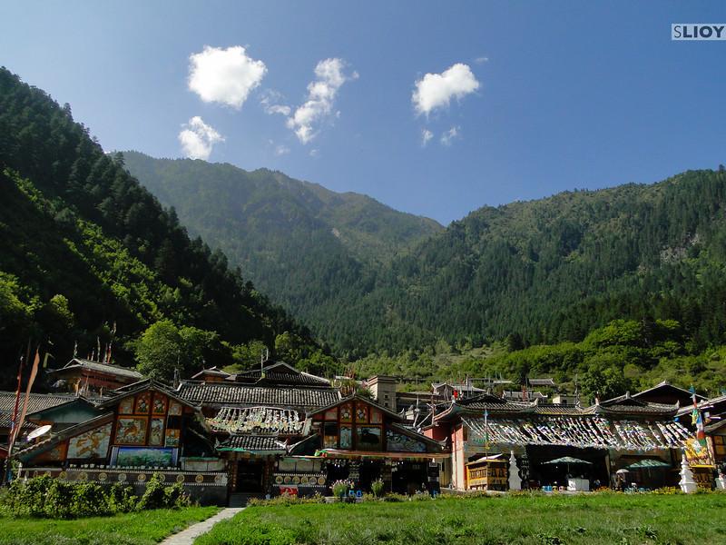 Tibetan village in Jiuzhaigou National Park in Sichuan, China.