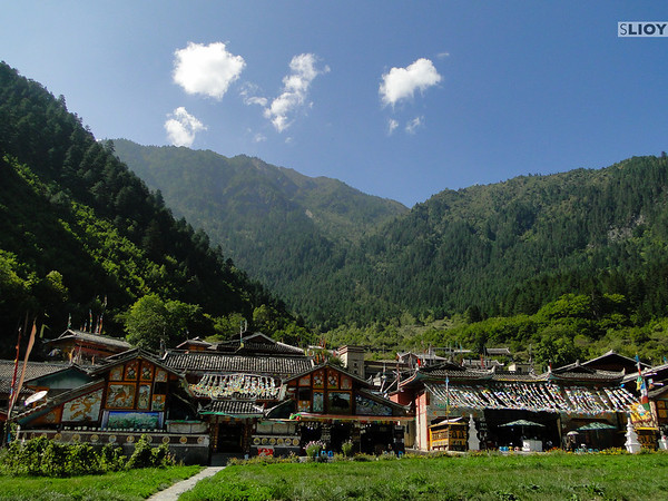 Tibetan village in Jiuzhaigou National Park in Sichuan, China.