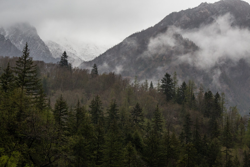 Foggy landscape of the Zharu Valley inside the Jiuzhaigou National Park in Sichuan, China.