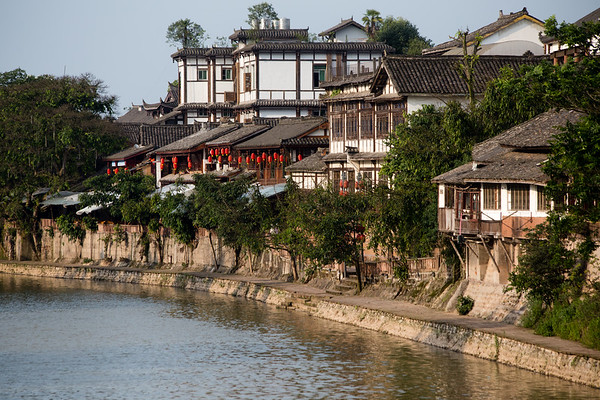 Historic architecture of old-town Pingle in rural Sichuan, China.