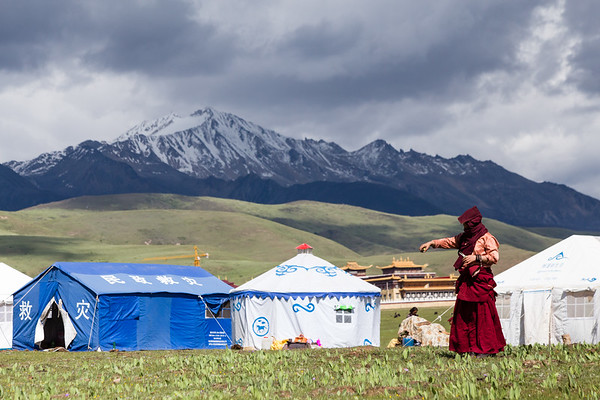 Tibetan nomads camping on the outskirts of the town of Tagong in Sichuan, China.