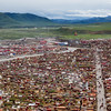 Aerial view of the Yarchengar Tibetan Buddhist Nunnery in Sichuan, China.