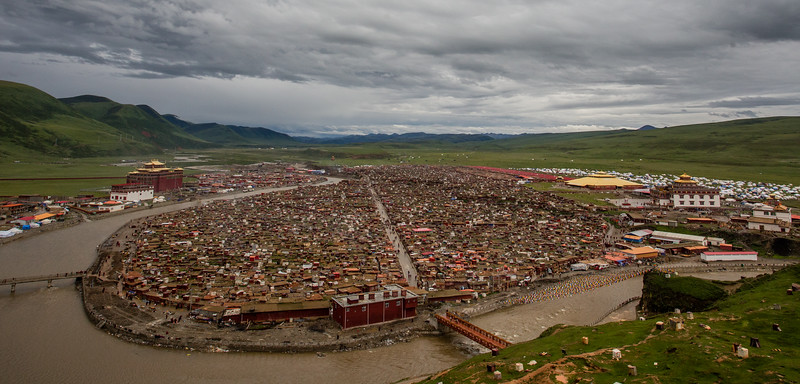View of Yarchengar Tibetan Buddhist Nunnery from across the river in Sichuan, China.