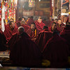 Monks at a prayer service inside the Ganden Monastery complex in the U region of Tibet.