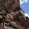 Temples of the cliffside Sili Gotsang Monastery in the U region of Tibet.