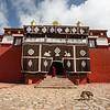 Exterior of the main prayer hall of Reting Monastery in the U region of Tibet.