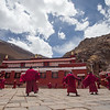 Monks practice a cham dance at Talung Monastery in the U region of Tibet.