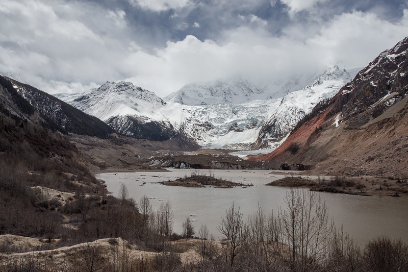 View of the Midui Glacier in Chamdo Prefecture of Eastern Tibet.