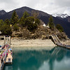 Tsodzong Monastery on a small island in Draksum-Tso lake in Eastern Tibet.