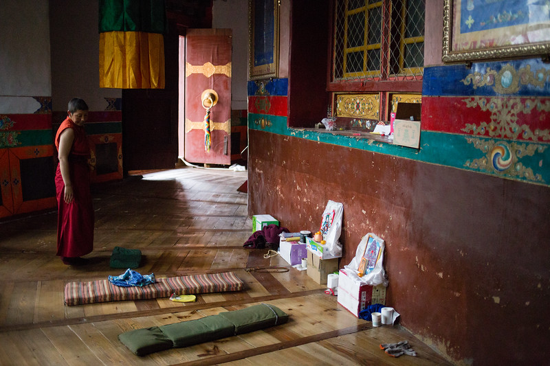 A monk in Lamaling Monastery near the town of Nyingchi in Eastern Tibet.