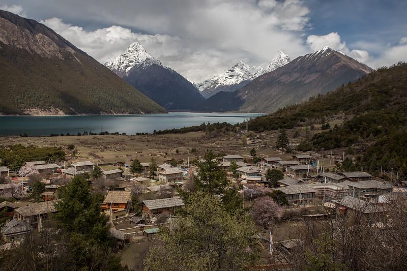 Houses in Jieba village on the eastern edge of Draksum-Tso lake in Eastern Tibet.