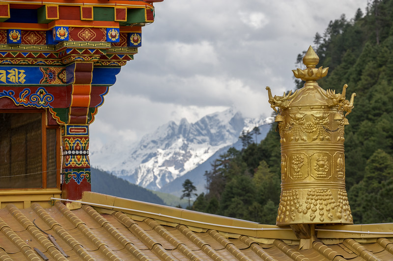 A prayer wheel on top of Dodung Gomba near the town of Pomi in Eastern Tibet.