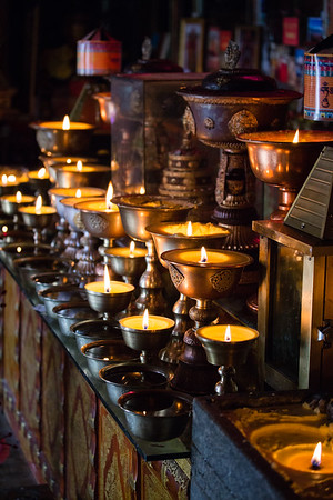 Yak butter candles in a temple in Eastern Tibet.