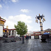 Worshippers pray in front of the Jokhang Temple in Lhasa, Tibet.
