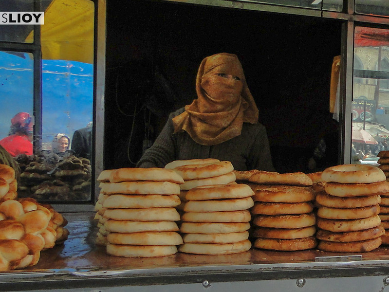 Bread vendor in Chinese Xinjiang on the ancient silk road