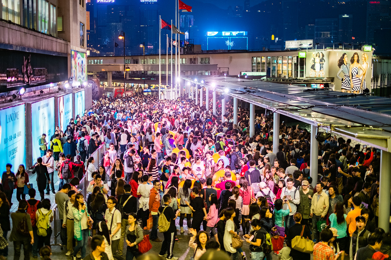 Crowd on the streets of Hong Kong