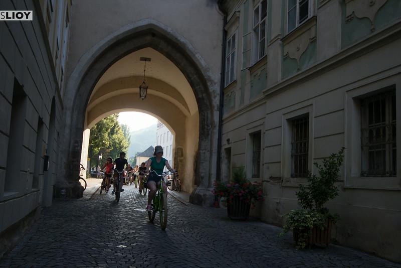 biking into krems in the wachau valley