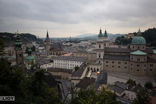 salzburg city center from hohensalzburg