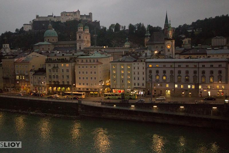 salzburg city center at dusk