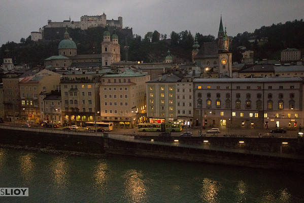 salzburg city center at dusk
