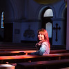 A tourist sits in St Simon and Helena Church in Minsk, Belarus.