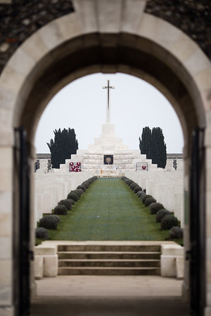 WWI Monument at the Tyne Cot Cemetery in Ypres, Belgium.